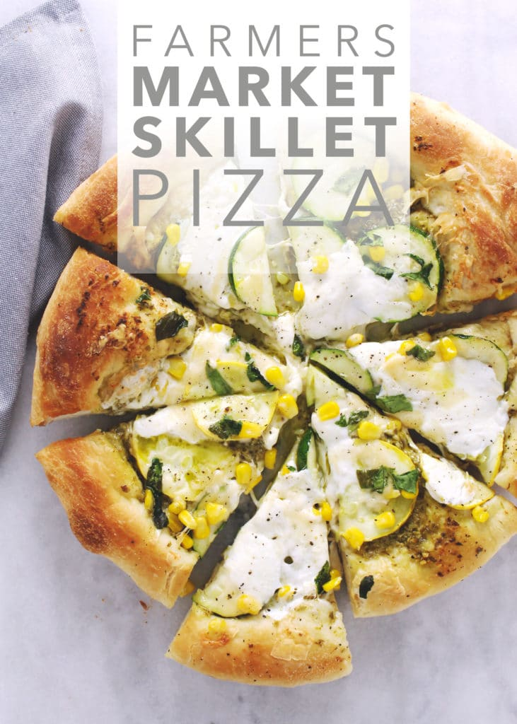 Use all the ingredients such as zucchini, yellow squash, and corn that you just picked up at the farmers market to make this summer skillet pizza | via @AimeeMarsLiving | #SkilletPizza #FarmersMarket #Zucchini #pizza