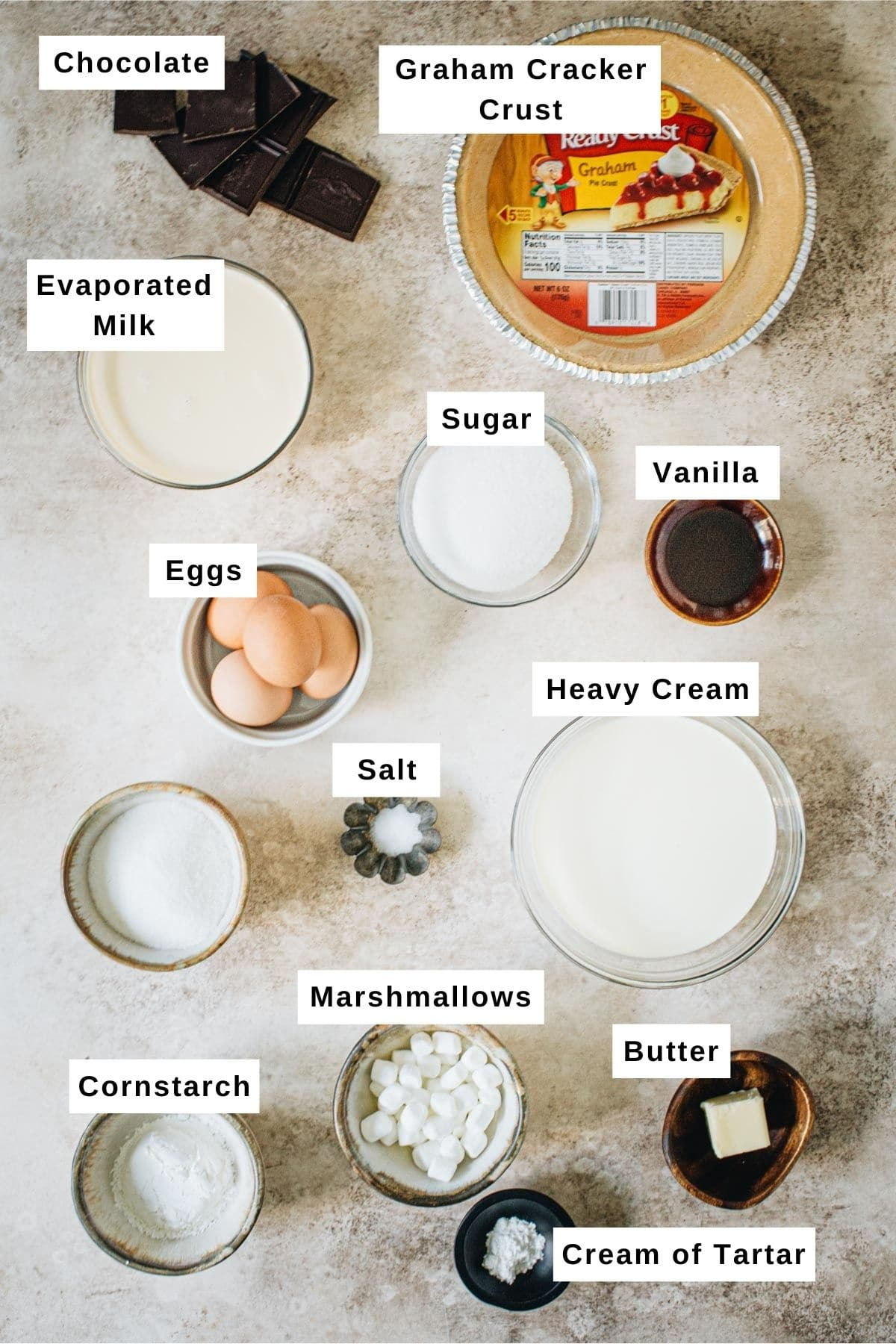 No-Bake S'mores Pie Ingredients