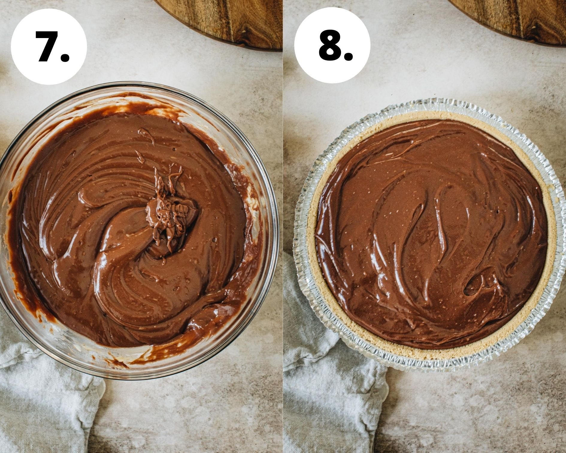 S'mores pudding pie process steps 7 and 8.