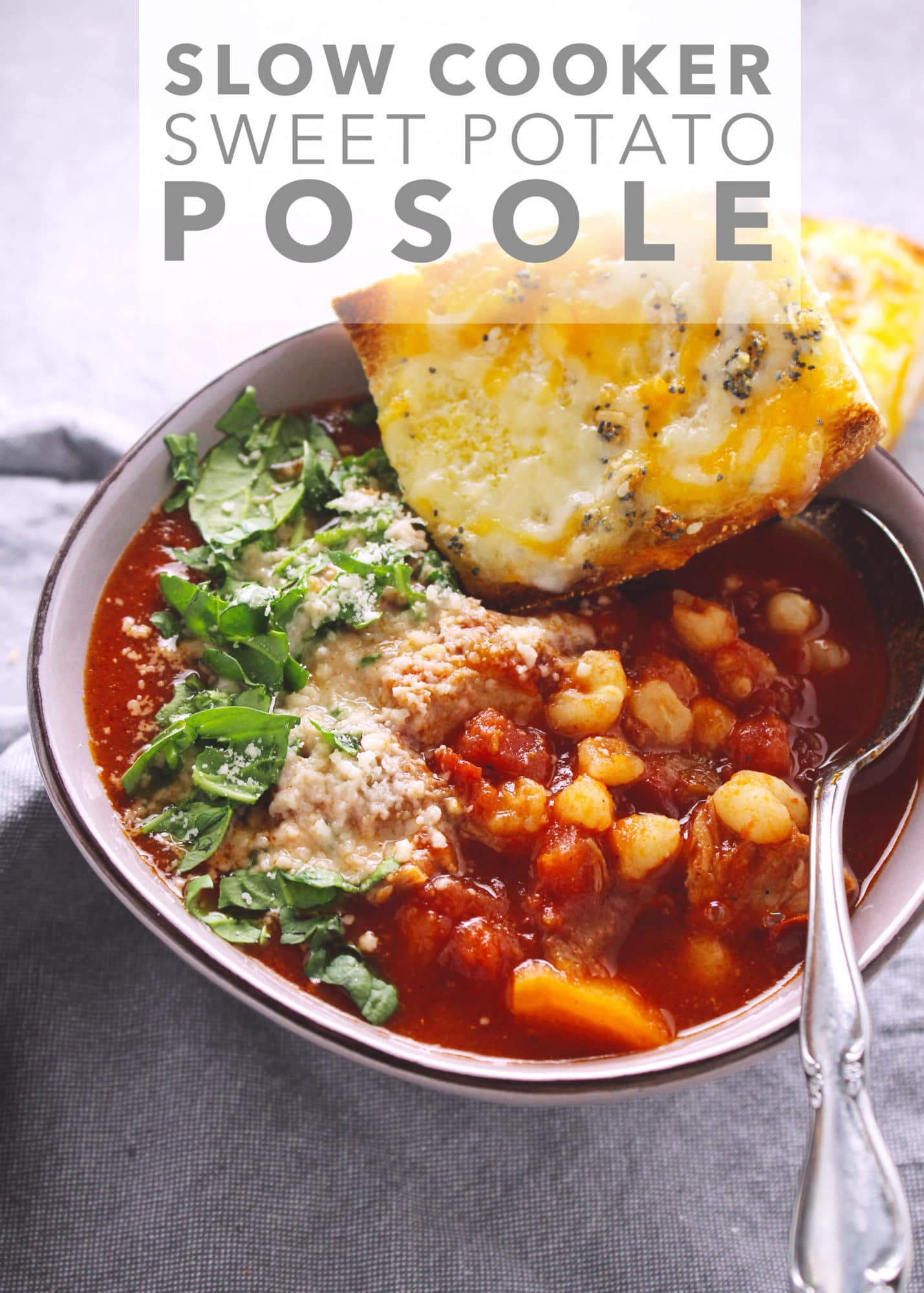 Slow Cooker Sweet Potato Posole, a traditional celebratory stew in Mexico, is a hearty weeknight meal and perfect for when you want all your ingredients to go in one pot | via @AimeeMarsLiving | #Posole #SweetPotato #Stew