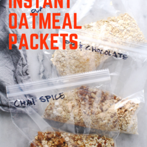instant oatmeal packets with red lettered title