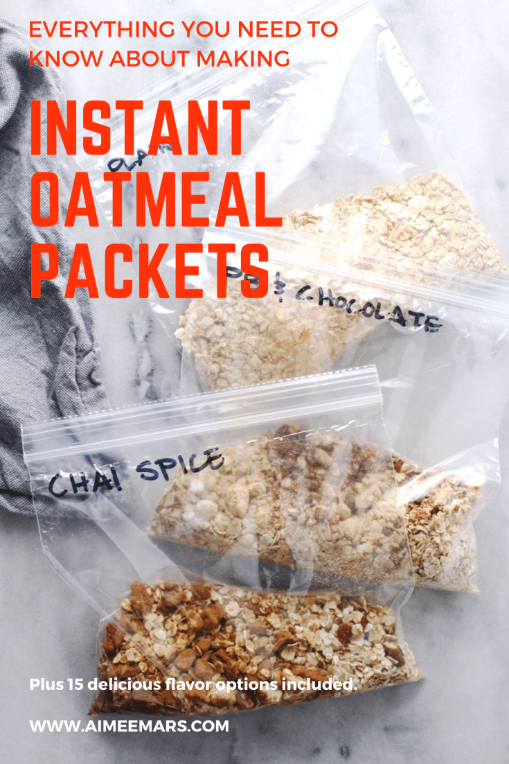 Instant oatmeal packets with red lettered title.