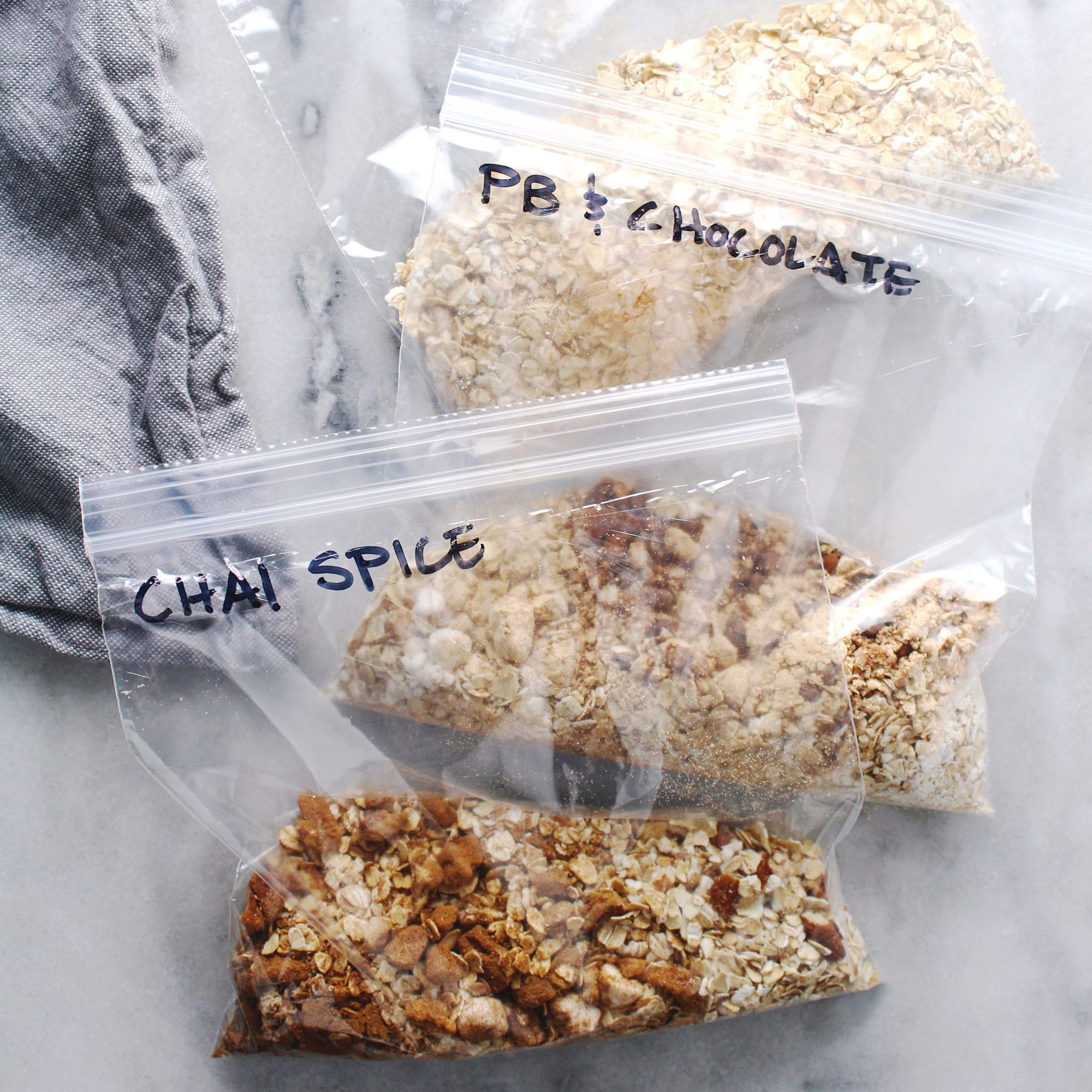flavored instant oatmeal in zip-top bags