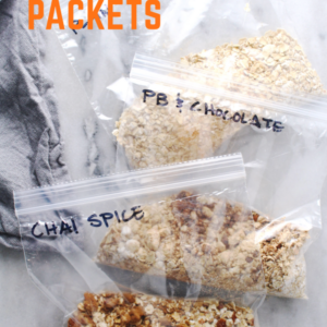 instant oatmeal packets with orange lettered title