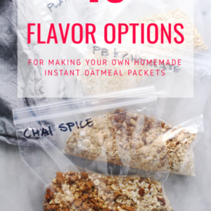oatmeal packets with red lettered title