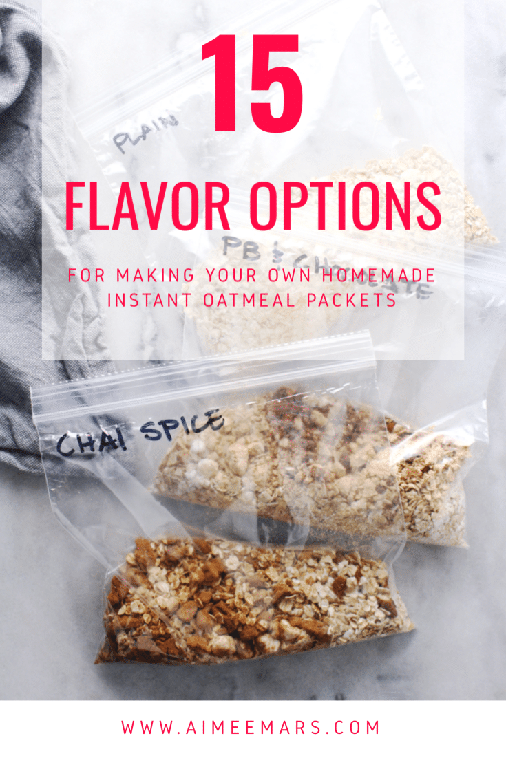 Oatmeal packets with red lettered title.