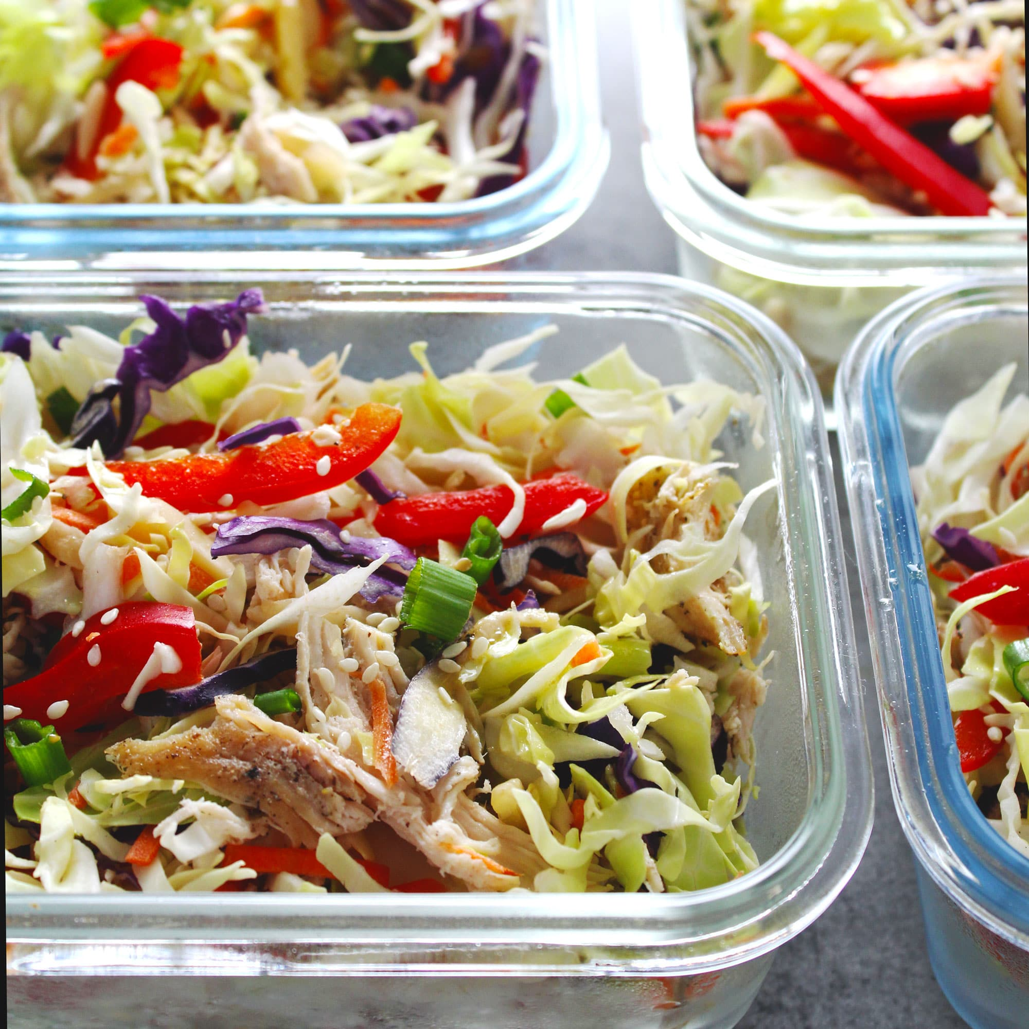 Salad in glass containers