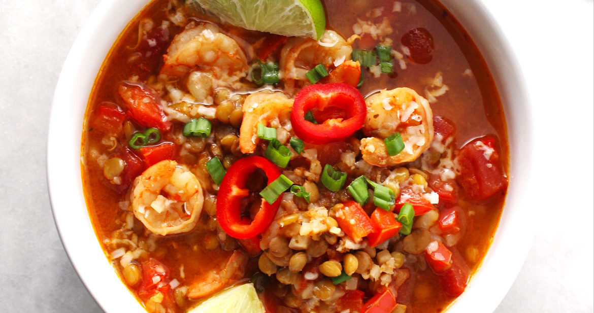 Instant Pot Shrimp and Lentil Stew