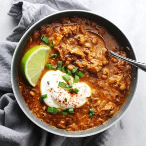 Southern Black Eyed Pea Chili in gray bowl
