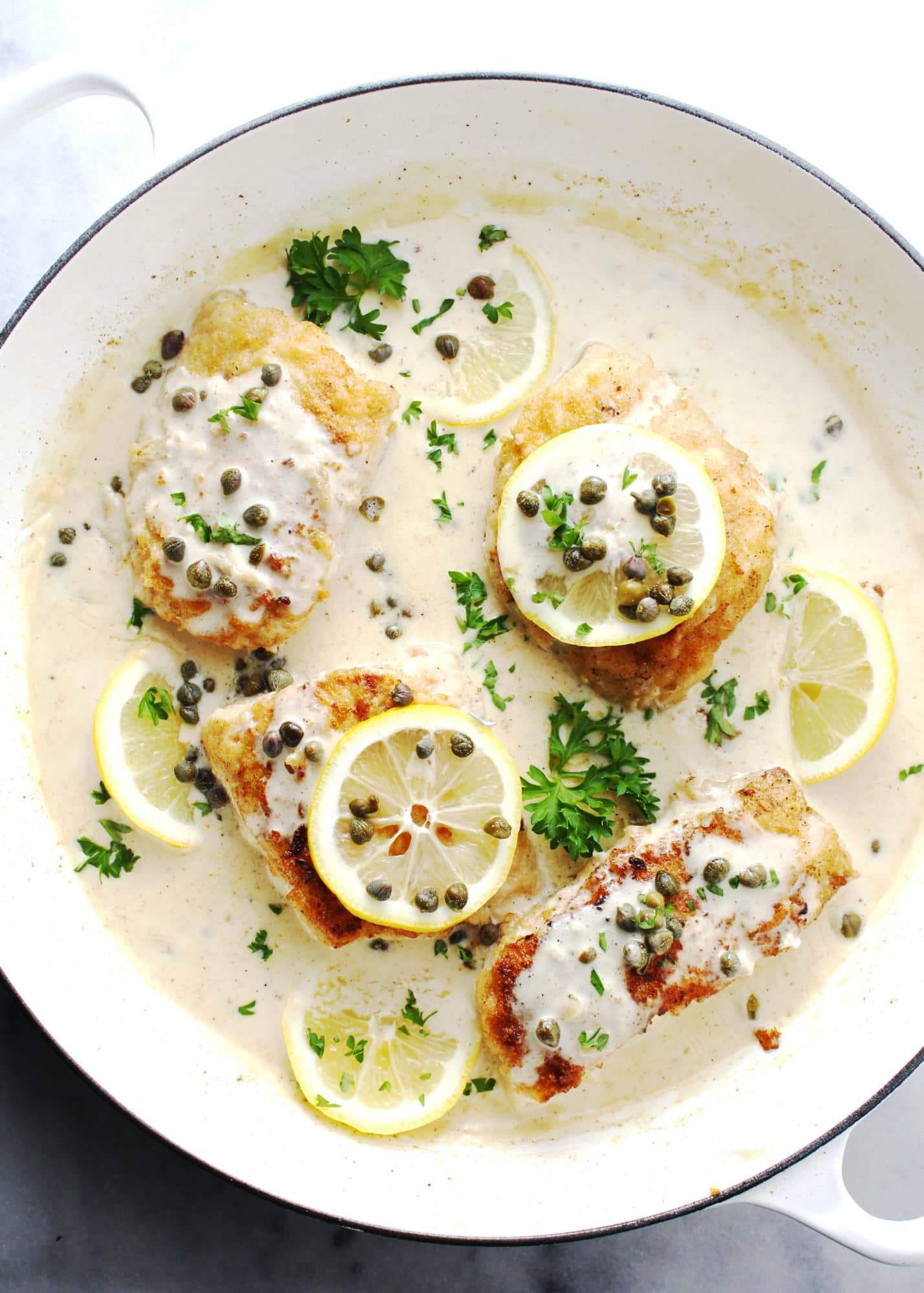 Creamy Lemon Cod Piccata