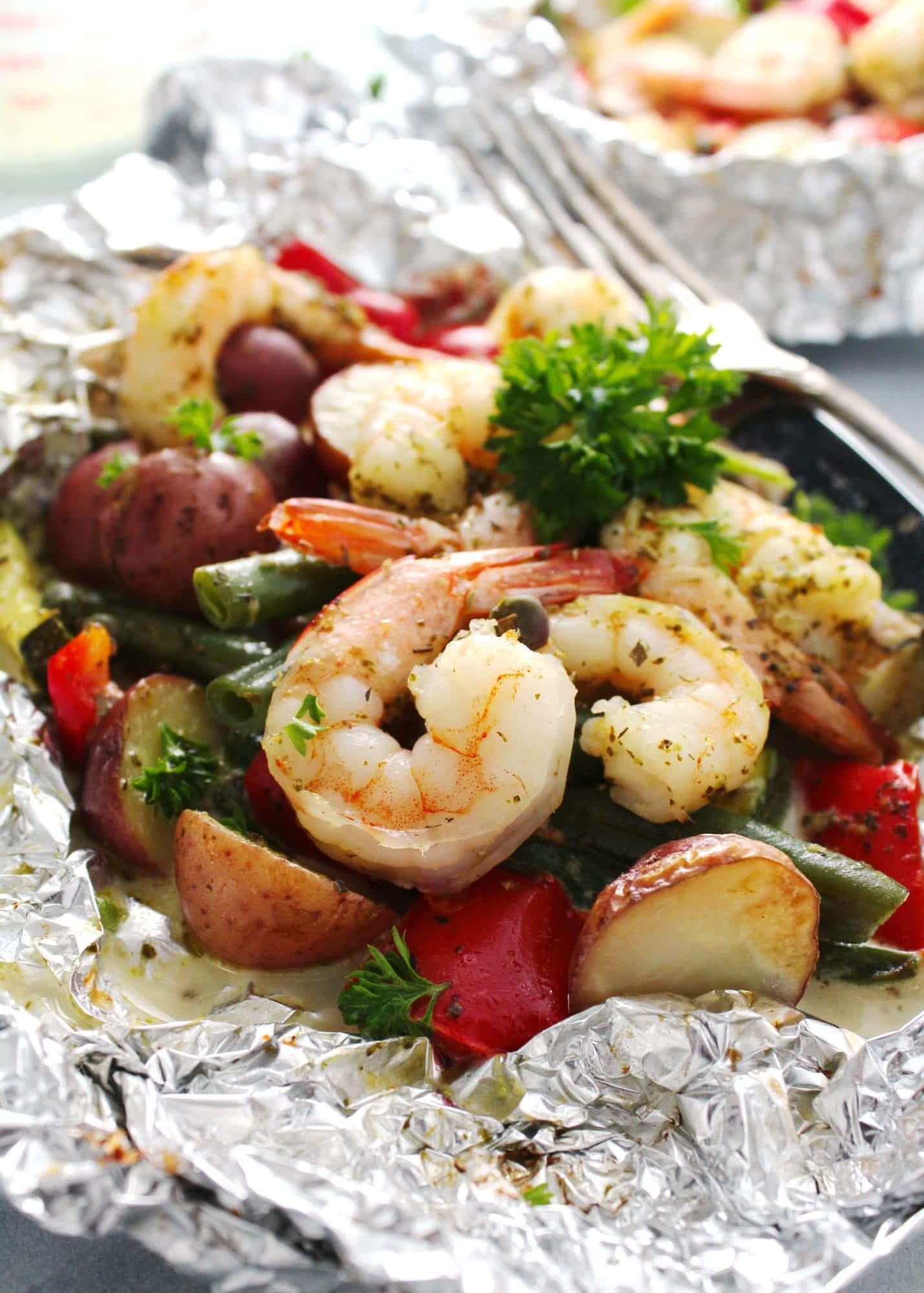 Foil Pack Creamy Pesto Shrimp