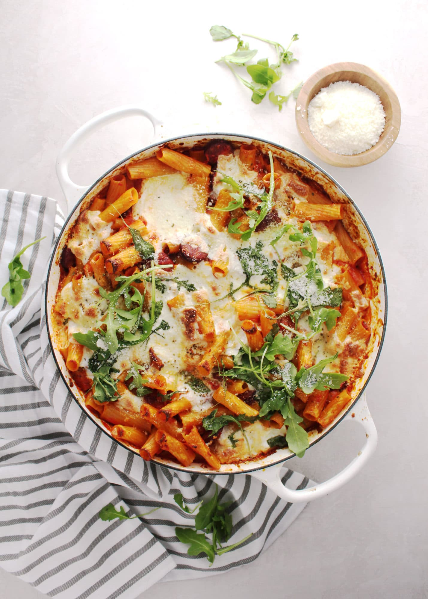 Roasted Red Pepper Baked Rigatoni