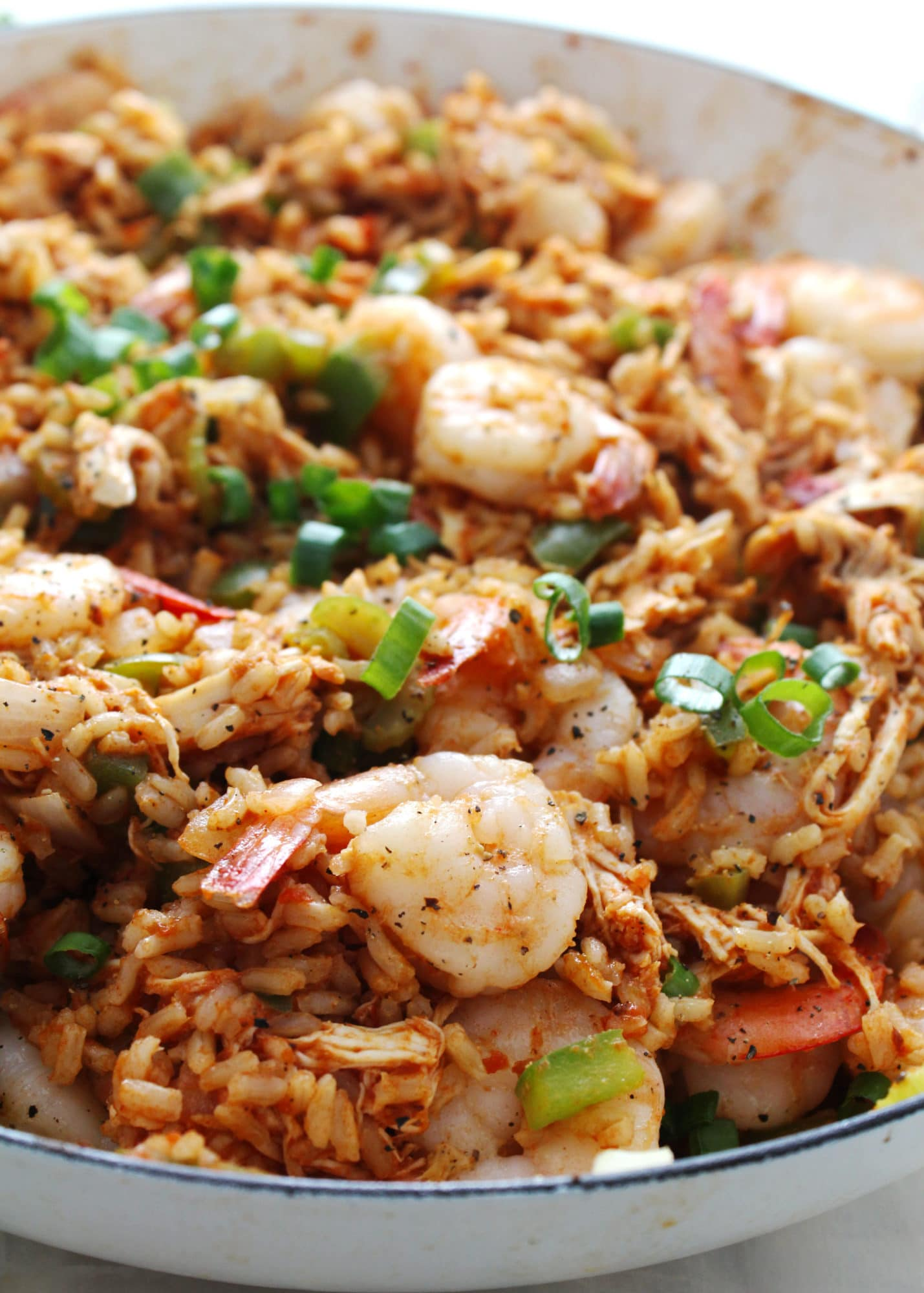chicken and shrimp jambalaya close up
