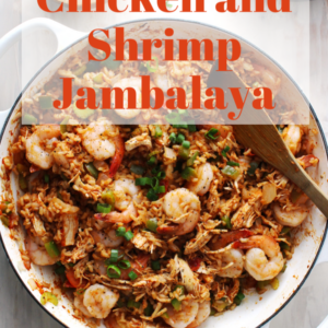 chicken and shrimp jambalaya with red title