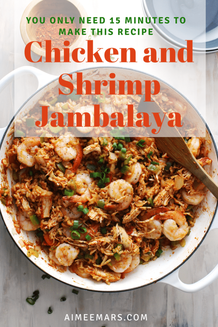 Chicken and shrimp jambalaya with red title.