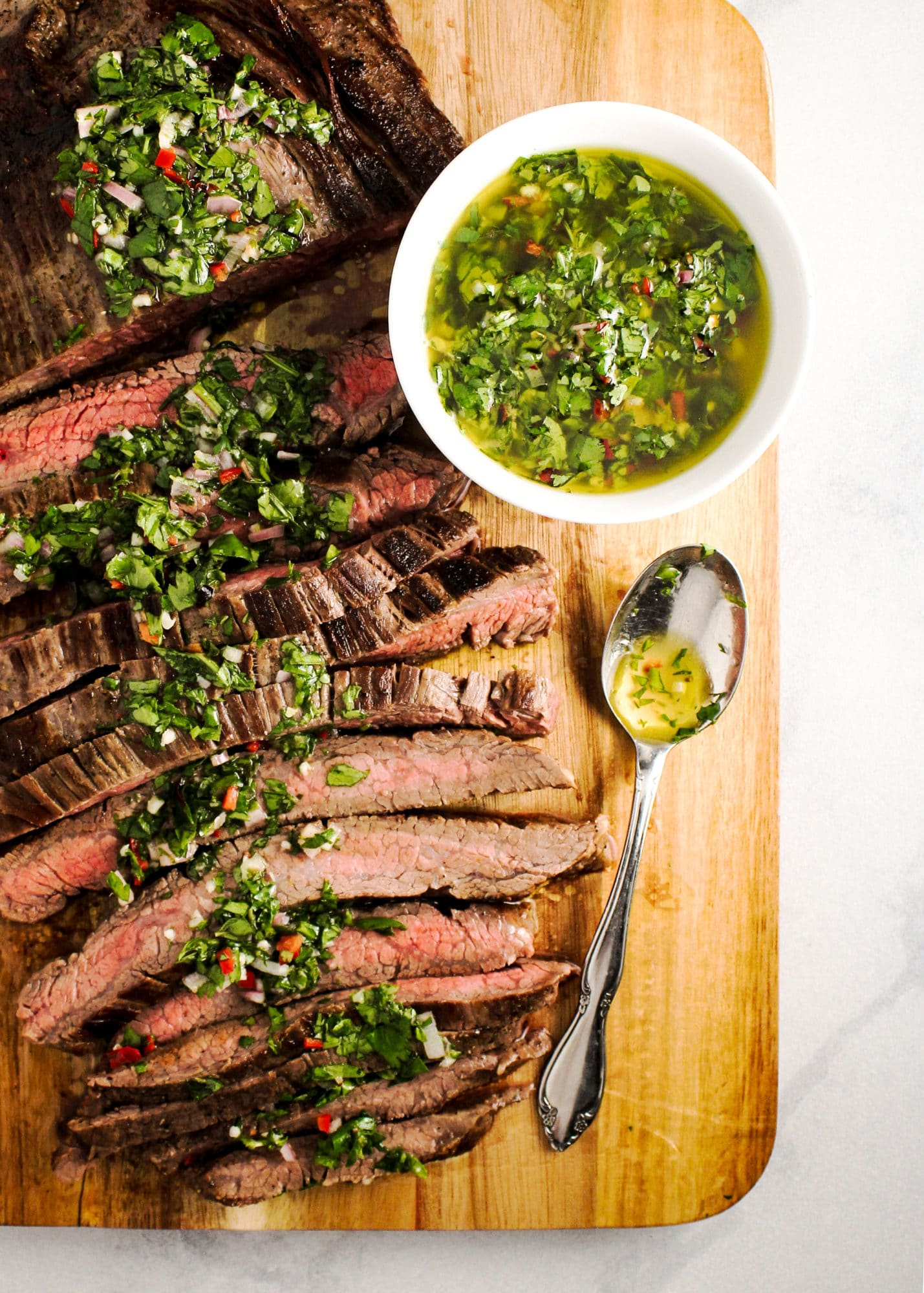 Skillet Steak with Kale Chimichurri