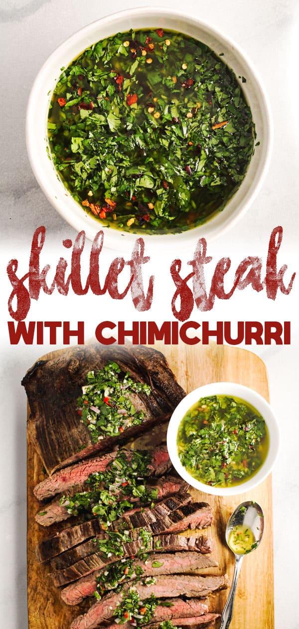Skillet Steak with Kale Chimichurri