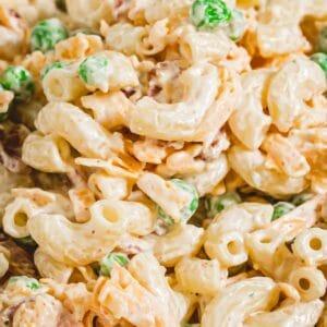 Close up of bacon ranch pasta salad.