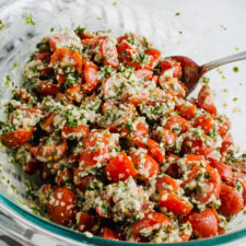 Hemp Seed Tabbouleh in a glass bowl.