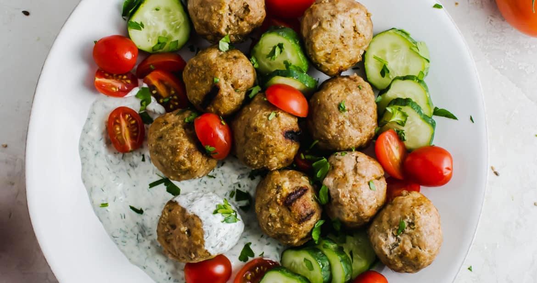 Mediterranean Meatball Kabobs with Tzatziki