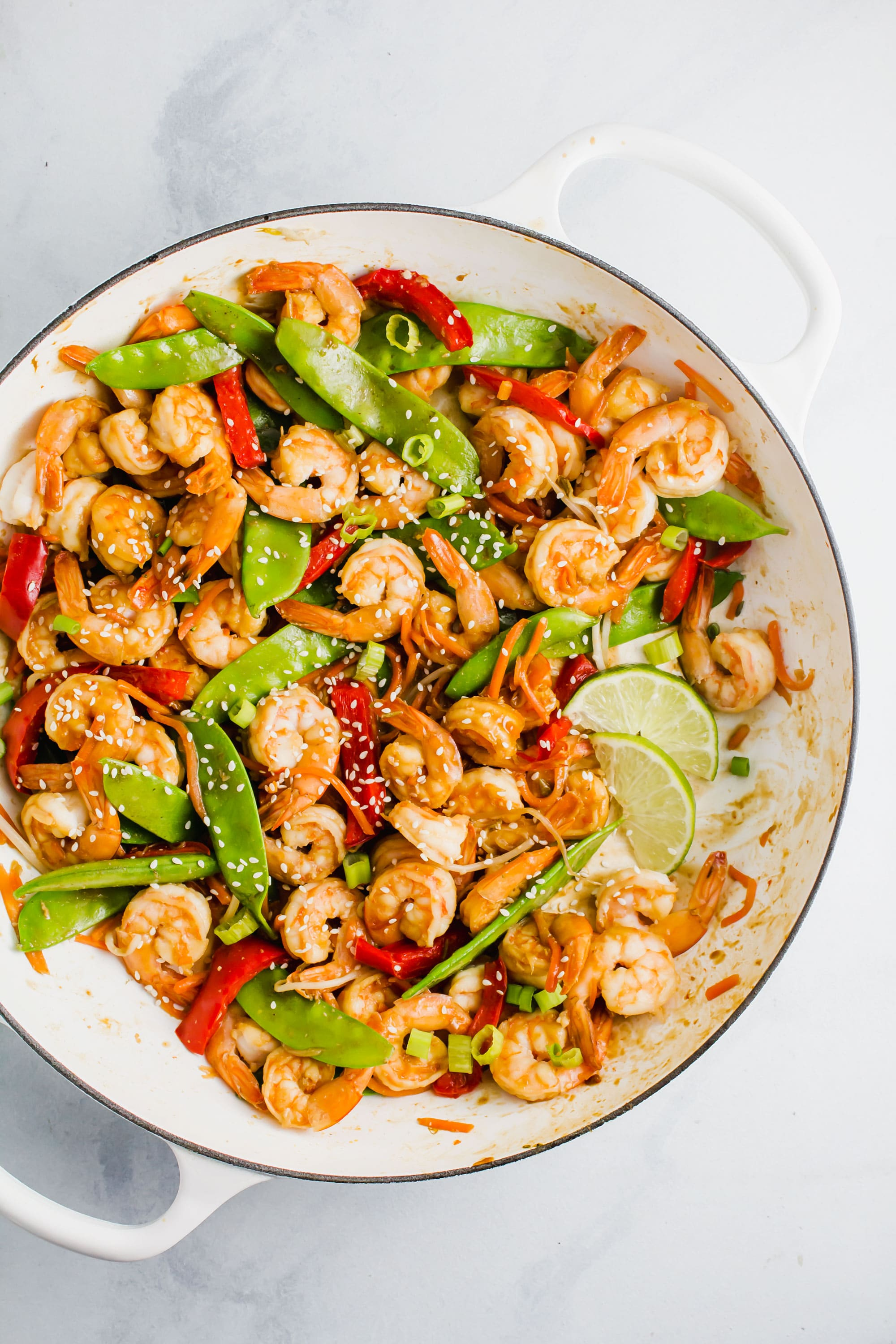 Miso Glazed Shrimp Stir-Fry in a white skillet