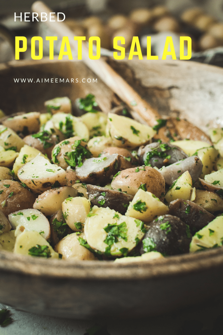 Potato salad with yellow title.