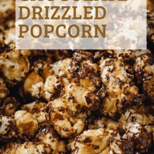 close up of caramel chocolate popcorn