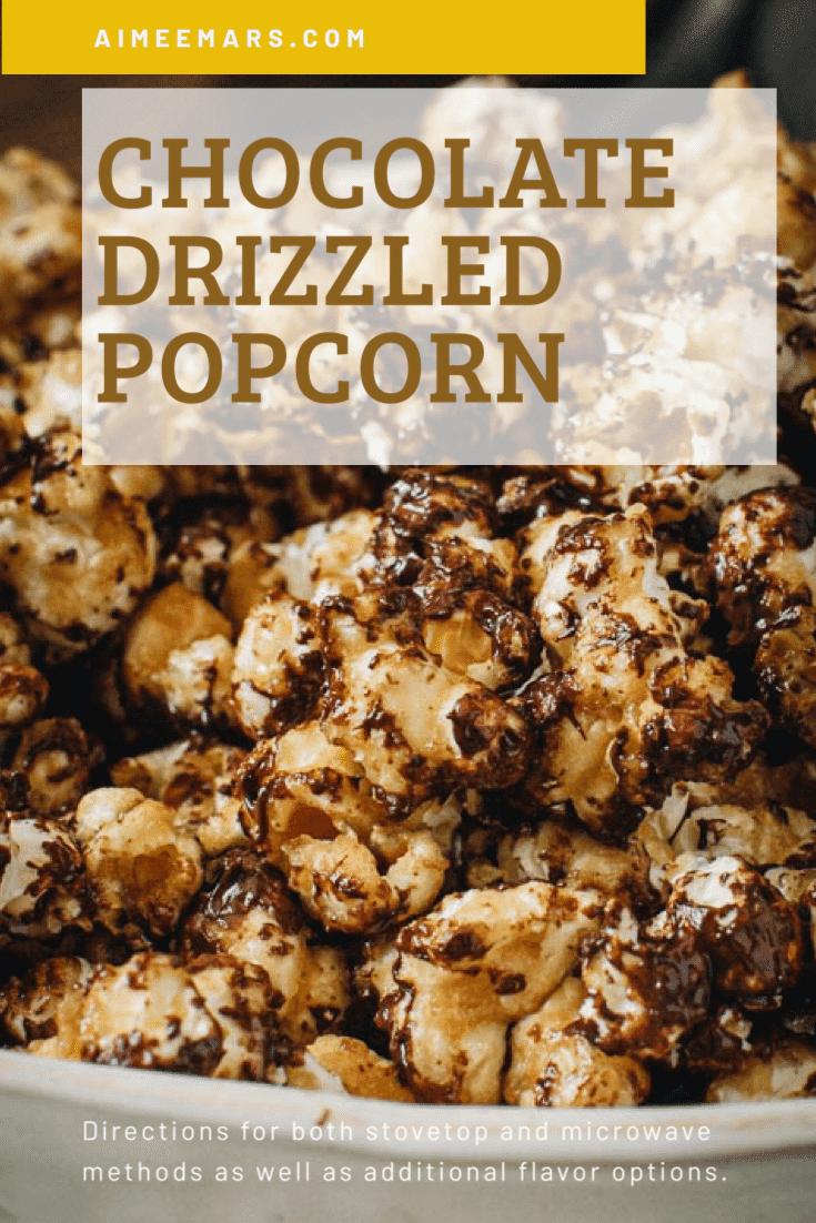 Close up of caramel chocolate popcorn.