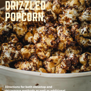 chocolate covered caramel popcorn in white bowl with light yellow title