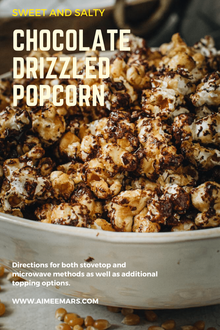 Chocolate covered caramel popcorn in white bowl with light yellow title.