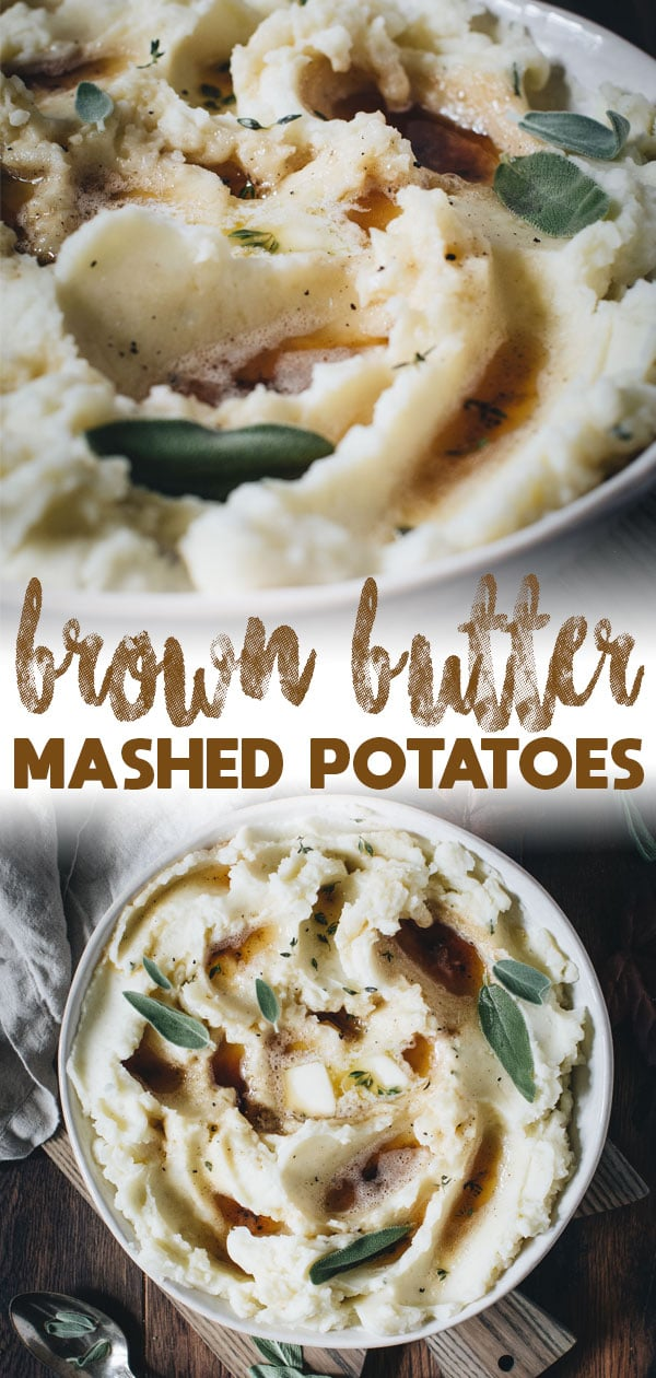 brown butter mashed potatoes long pin with title