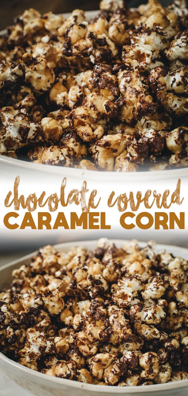 chocolate covered caramel corn long pin with writing