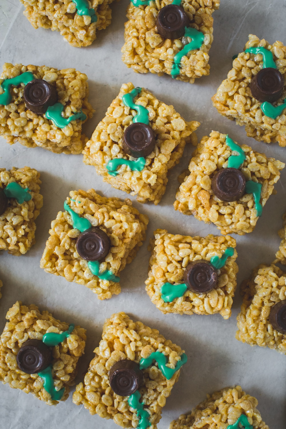 Halloween Rice Krispie treats with a Rolo's candy stem