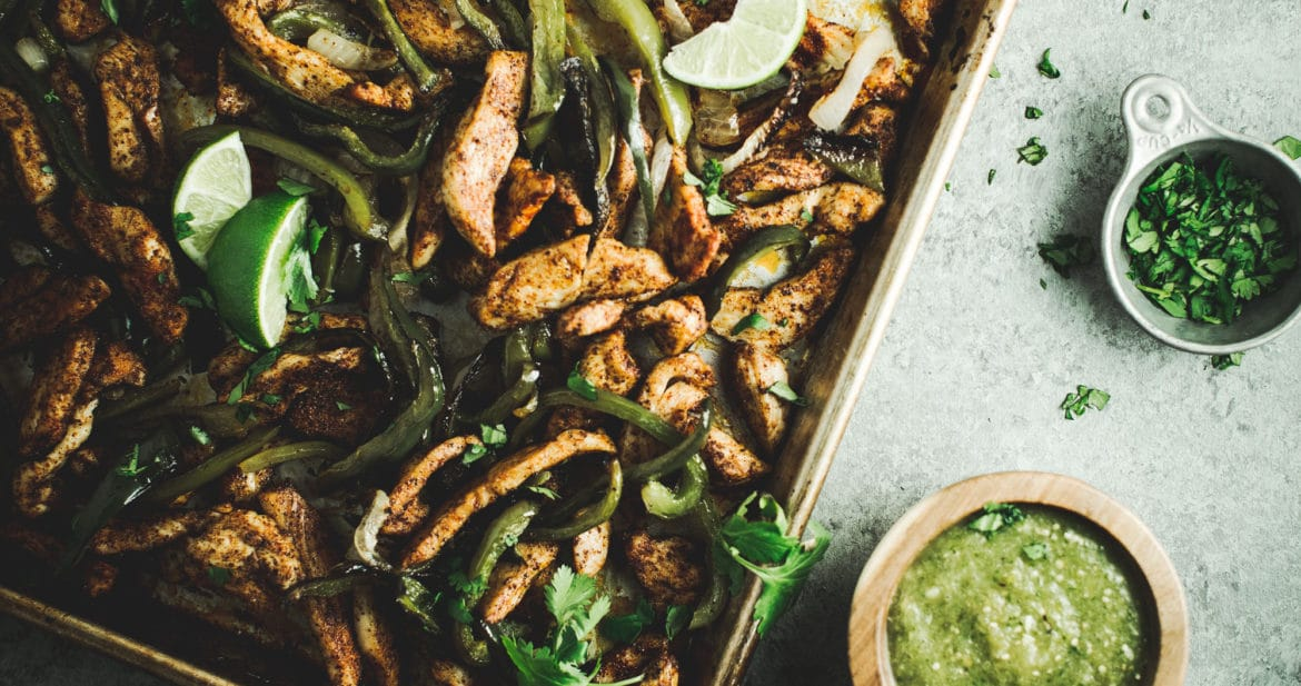 sheet pan salsa verde chicken fajitas