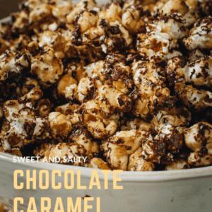 gourmet caramel popcorn in white bowl