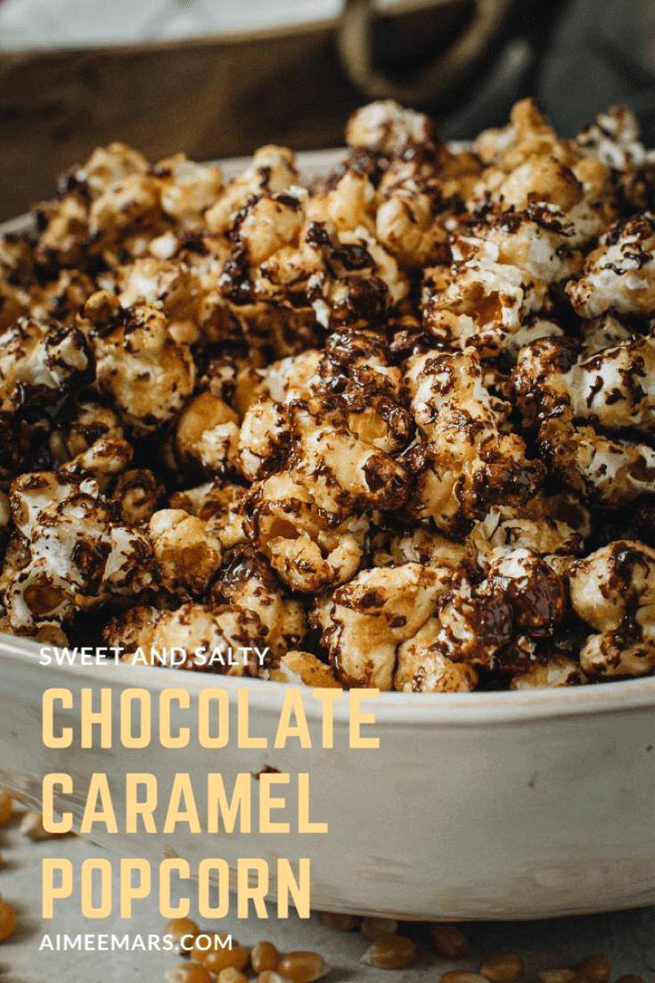 Gourmet caramel popcorn in white bowl.