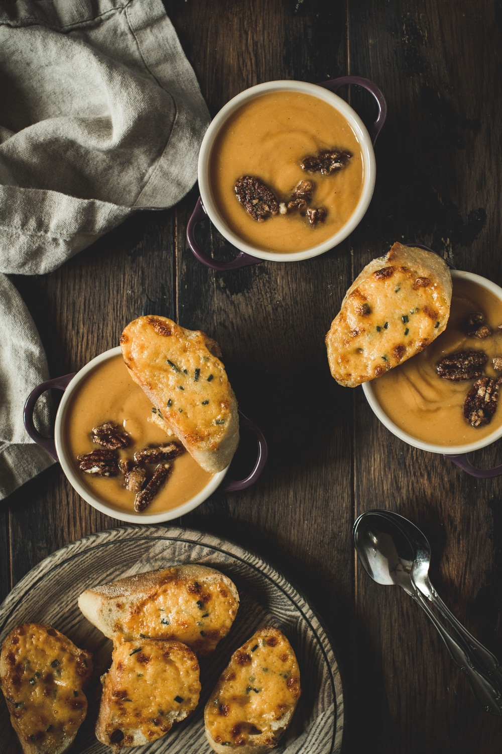 maple sweet potato soup with sugared pecans and cheese crostini
