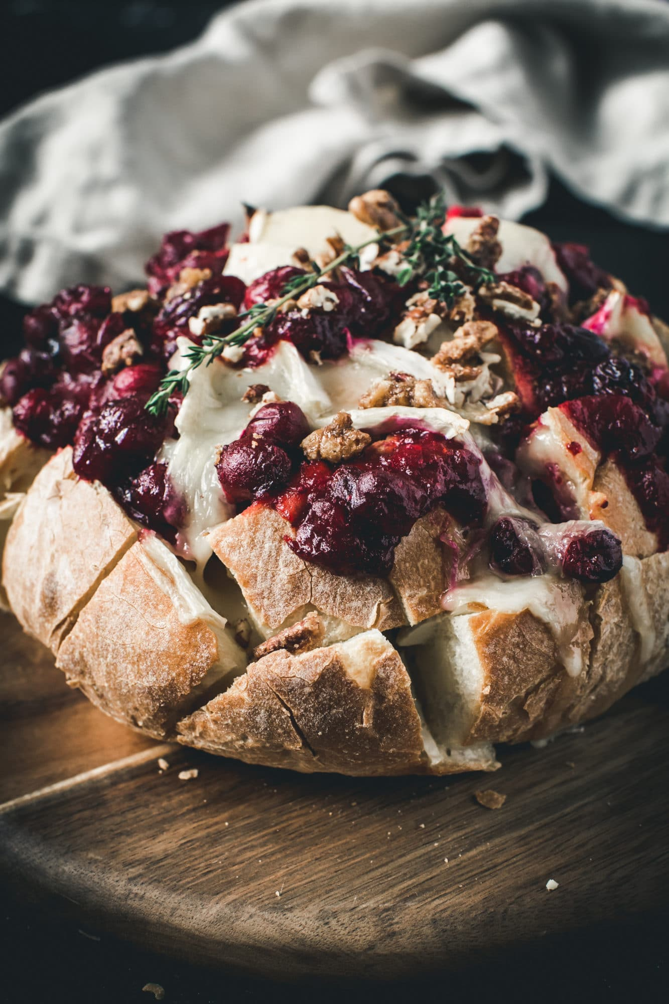 cranberry brie pull apart bread with thyme on top