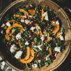 harvest salad with cranberries and goat cheese