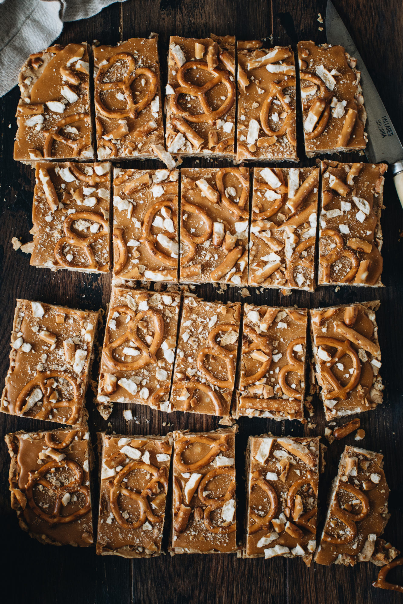 cut butterscotch bars on board