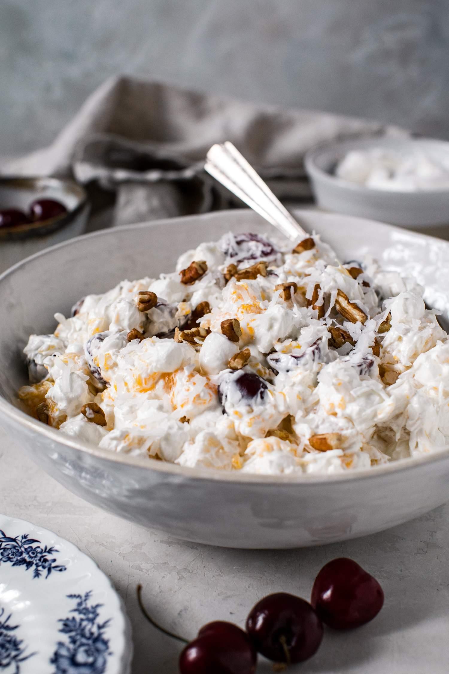 ambrosia in a white bowl
