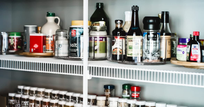 pantry shelves organized on wire racks