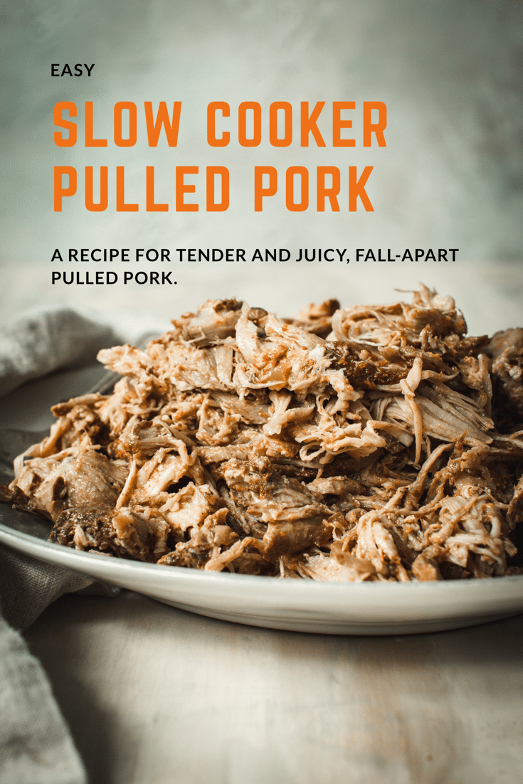 Pulled pork on a white plate.
