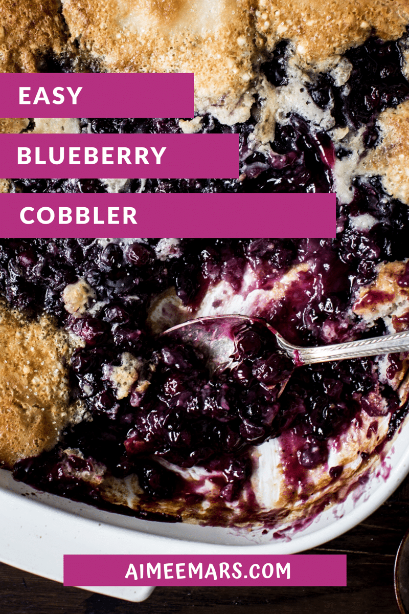 blueberry cobbler with purple title