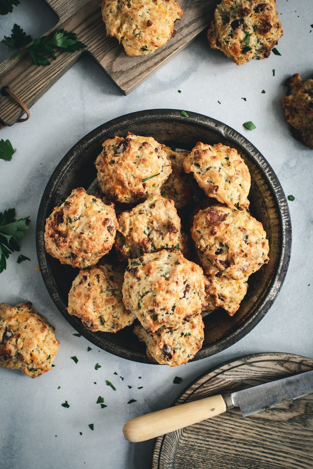 Cheddar biscuits in tin