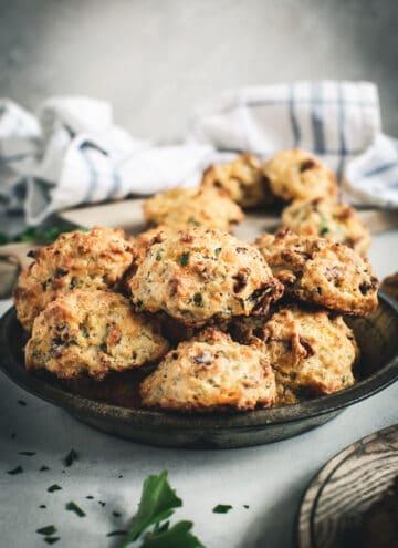 Drop Biscuits in metal tin.