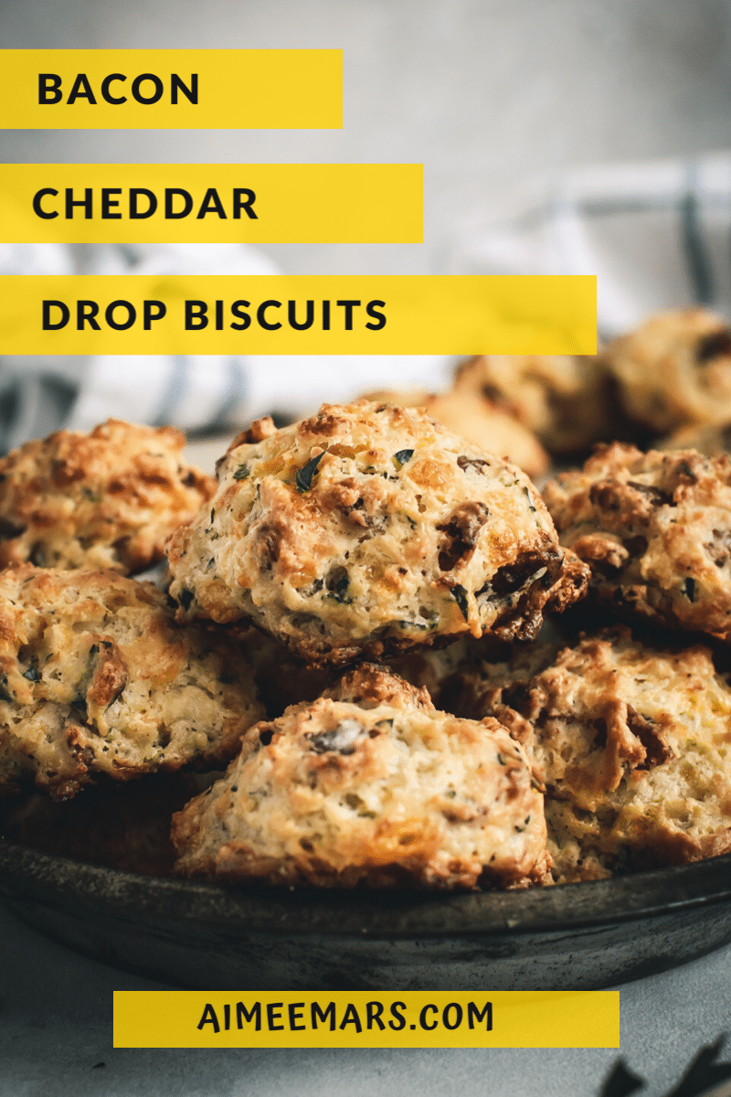 Bacon Cheddar Biscuits with title above biscuits.