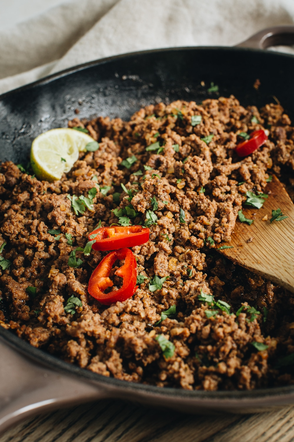 ground beef for tacos in skillet