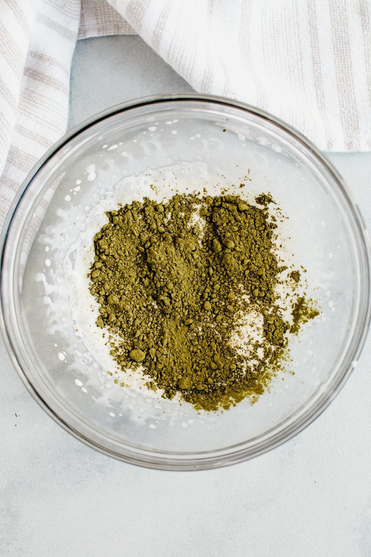 dalgona matcha ingredients in glass bowl