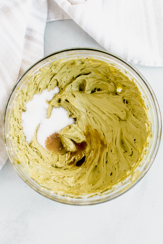 mixing in the sugar and vanilla to the dalgona matcha